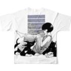 ふじはら ろくの雨と紫陽花、ドーベルマン Full graphic T-shirtsの背面