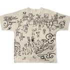 YOUMSの地獄極楽兎座戯画 生成(きなり) Full graphic T-shirtsの背面