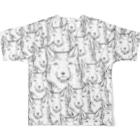 PygmyCat suzuri店の両面印刷チベットスナギツネ_虚無グレー Full graphic T-shirtsの背面