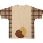 狸の遠吠えのたぬきさんしっぽ付きチェック切り替えシャツ Full graphic T-shirtsの背面