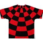 ゴータ・ワイのサークルチェッック 赤黒 Full graphic T-shirtsの背面