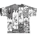 シカトコの花を贈る犬Tシャツ Full graphic T-shirtsの背面