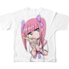江崎びす子のスズリのメンヘラチャン①フルグラフィックTシャツ