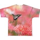 コボ工房のカフェ曼珠沙華 キアゲハ Full graphic T-shirtsの背面