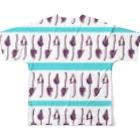 593のボーダーとワオキツネザル Full graphic T-shirtsの背面