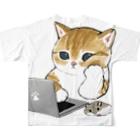 mofusandの在宅勤務のプロ、その名は猫。 Full graphic T-shirtsの背面