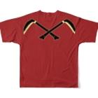 Rigelの猩々緋羅紗地違い鎌模様陣羽織柄 フルグラフィックTシャツ 角印ロゴ Full Graphic T-Shirtの背面