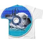 chicodeza by suzuriのfunnyfrench可愛いフレブルCDグッズ Full graphic T-shirtsの背面