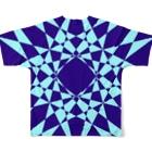 黒塚アキラ│本業×副業逆転目標🎶の模様(青+水色) Full graphic T-shirtsの背面
