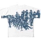 スキコソのbig bandシャツ(青) Full graphic T-shirts