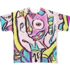 道化絵師Mine 公式グッズのステンドグラスチックな道化 Full graphic T-shirts