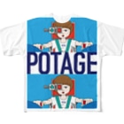POTAGEのGUN_GIRL【POTAGE.ver】 Full graphic T-shirts