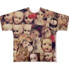 tanna fantastic worldのアンティークビスクドール柄 Full graphic T-shirts