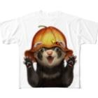 いちごだわし🐹のチャリティグッズ*おでかけフェレットちゃん Full graphic T-shirts
