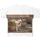 RedTonkotsuのお花ととんこつ Full graphic T-shirts
