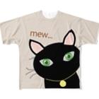 キャッツハンド:suzuriショップの黒猫PUKUフル Full graphic T-shirts