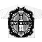 CɐkeccooのLOVE★BEER(ステッカー風)モノクロ Full graphic T-shirts