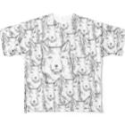 PygmyCat suzuri店の両面印刷チベットスナギツネ_虚無グレー Full graphic T-shirts