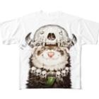 いちごだわし🐹のチャリティグッズ*先祖の頭骨を頭に乗せたフェレットちゃん Full graphic T-shirts