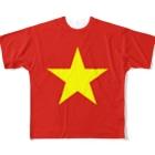 大のベトナム国旗 全柄 Full graphic T-shirts