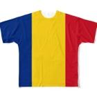 大のルーマニア国旗 全柄 Full graphic T-shirts