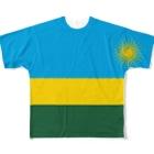 大のルワンダ国旗 全柄 Full graphic T-shirts