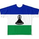 大のレソト国旗 全柄 Full graphic T-shirts