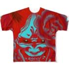 P-PiGの阿吽の般若ー吽ー Full graphic T-shirts