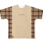 狸の遠吠えのたぬきさんしっぽ付きチェック切り替えシャツ Full graphic T-shirts