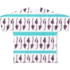 593のボーダーとワオキツネザル Full graphic T-shirts