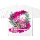 zommyのFlamingoMANIA Big柄Tシャツ Full graphic T-shirts