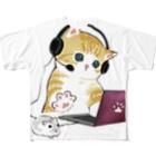 mofusandの在宅勤務のプロ、その名は猫。 Full graphic T-shirts