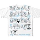 クジラのマグカップ屋さん。プラスのクジラのアルファベットポスター フルグラフィックTシャツ