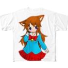 まっつん工房のネコミミの女の子 Full graphic T-shirts