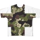 北欧の小さな雑貨店の迷彩十字 Full graphic T-shirts