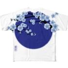 青月の青月【寒桜】 Full graphic T-shirts