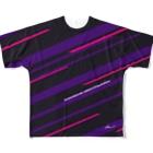 音無むおん⚡ショップSUZURI店の六音無双 フルグラフィックTシャツ黒 Full graphic T-shirts