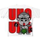 オリジナルデザインTシャツ SMOKIN'のUHOUHOゴリッキー(葉っぱバージョン) Full graphic T-shirts