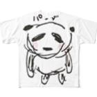 うさぎとお絵描き【Illustratorアベナオミの雑貨店】のアベナオミの夫画伯が描いた動物【パンダ】 Full graphic T-shirts