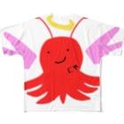 💜 . .花凛. . 💜のタコ神天使 Full graphic T-shirts