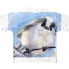 リラのエナガフルグラフィックTシャツ
