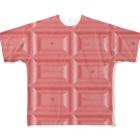 Ribbon-corsage*のピンクチョコレート2 Full graphic T-shirts