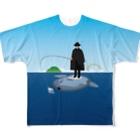 めぐみさらしのマンボウに乗った旅人 Full graphic T-shirts
