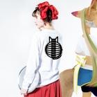 SHOP W SUZURI店の猫の丸い背中 ロングスリーブTシャツ Long sleeve T-shirts