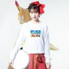 かわいいにゃんことワンコの絵のお店のにゃんこライダース Long sleeve T-shirtsの着用イメージ(表面)