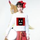 NoraUprise-whiteの【 黒鬼: Black demon 】 Long sleeve T-shirtsの着用イメージ(表面)