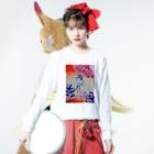 fuffu_dazoの隠れてる少女(イラスト 絵の具 女の子)ふっふ Long sleeve T-shirtsの着用イメージ(表面)
