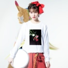 q__xwx__pのお花さん Long sleeve T-shirtsの着用イメージ(表面)