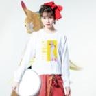 ブラーブラー トーキョー Suzuri店のPUSH IT DOWN(濃色) Long Sleeve T-Shirtの着用イメージ(表面)