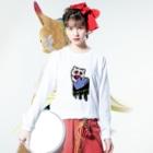 ねこちゃんZombieのねこちゃんゾンビ はーとムシャムシャ Long sleeve T-shirtsの着用イメージ(表面)
